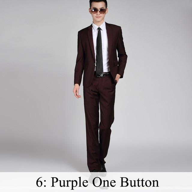 - (Jacket+Pants+Tie) Men Business Dress Suit Slim Custom Tuxedo Formal Blazer Fashion Brand Male Wedding Suits For Men 18 Styles - Purple 1 Button / XS  jetcube