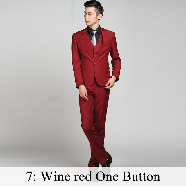 - (Jacket+Pants+Tie) Men Business Dress Suit Slim Custom Tuxedo Formal Blazer Fashion Brand Male Wedding Suits For Men 18 Styles - Wine red 1 Button / XS  jetcube