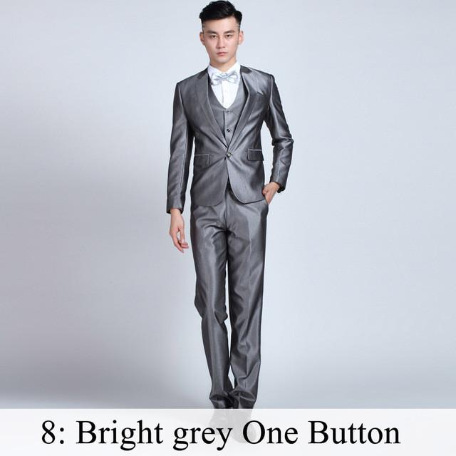 - (Jacket+Pants+Tie) Men Business Dress Suit Slim Custom Tuxedo Formal Blazer Fashion Brand Male Wedding Suits For Men 18 Styles - Bright Grey 1 Button / XS  jetcube