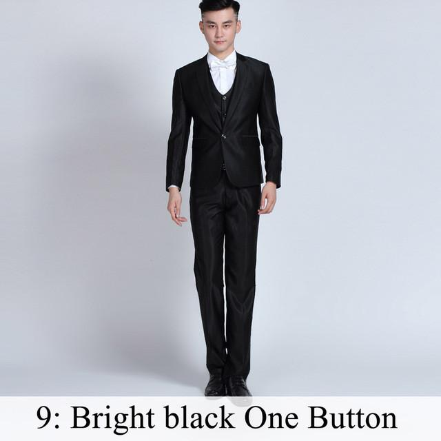 - (Jacket+Pants+Tie) Men Business Dress Suit Slim Custom Tuxedo Formal Blazer Fashion Brand Male Wedding Suits For Men 18 Styles - Bright black 1Button / XS  jetcube