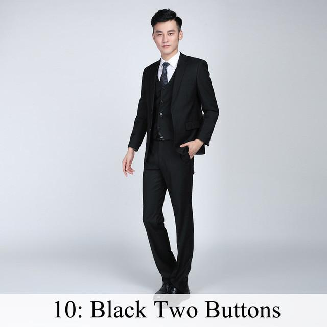 - (Jacket+Pants+Tie) Men Business Dress Suit Slim Custom Tuxedo Formal Blazer Fashion Brand Male Wedding Suits For Men 18 Styles - Black 2 Button / XS  jetcube