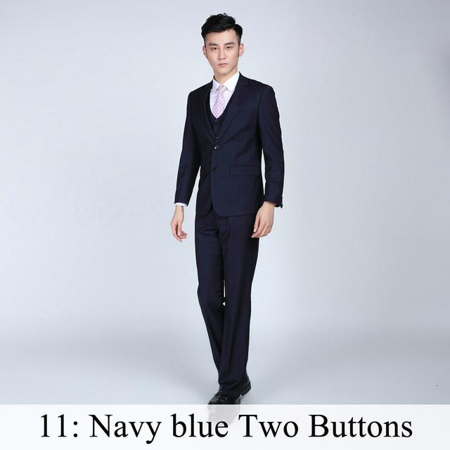- (Jacket+Pants+Tie) Men Business Dress Suit Slim Custom Tuxedo Formal Blazer Fashion Brand Male Wedding Suits For Men 18 Styles - Navy Blue 2 Button / XS  jetcube
