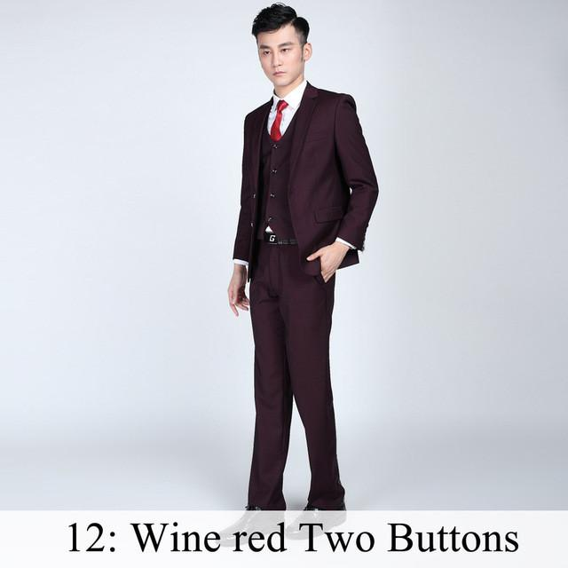 - (Jacket+Pants+Tie) Men Business Dress Suit Slim Custom Tuxedo Formal Blazer Fashion Brand Male Wedding Suits For Men 18 Styles - Wine red 2 Button / XS  jetcube