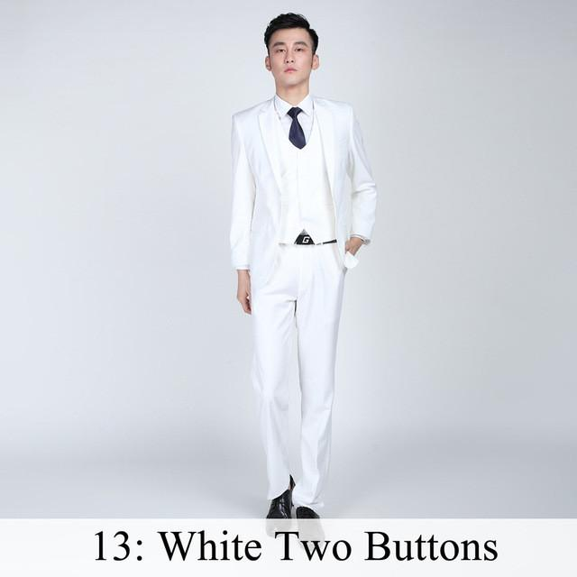- (Jacket+Pants+Tie) Men Business Dress Suit Slim Custom Tuxedo Formal Blazer Fashion Brand Male Wedding Suits For Men 18 Styles - White 2 Button / XS  jetcube