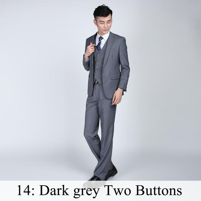- (Jacket+Pants+Tie) Men Business Dress Suit Slim Custom Tuxedo Formal Blazer Fashion Brand Male Wedding Suits For Men 18 Styles - Dark Grey 2 Button / XS  jetcube