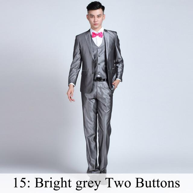 - (Jacket+Pants+Tie) Men Business Dress Suit Slim Custom Tuxedo Formal Blazer Fashion Brand Male Wedding Suits For Men 18 Styles - Bright Grey 2 Button / XS  jetcube