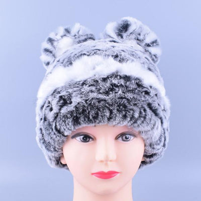 - 11colors Cat Hat Winter Women Genuine Real Fur Rex Rabbit Hats Hand Knitted Female Beanie Hats Ladies Ear Caps Headwear LQ11148 - Color 01  jetcube