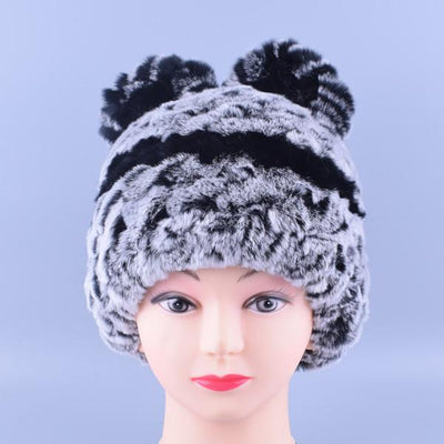 - 11colors Cat Hat Winter Women Genuine Real Fur Rex Rabbit Hats Hand Knitted Female Beanie Hats Ladies Ear Caps Headwear LQ11148 - Color 02  jetcube