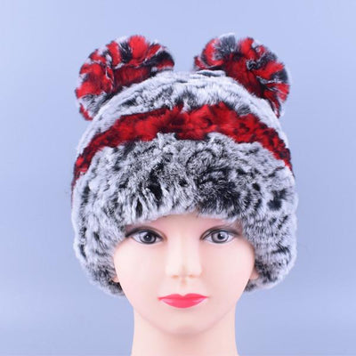 - 11colors Cat Hat Winter Women Genuine Real Fur Rex Rabbit Hats Hand Knitted Female Beanie Hats Ladies Ear Caps Headwear LQ11148 - Color 03  jetcube