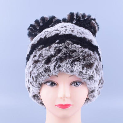 - 11colors Cat Hat Winter Women Genuine Real Fur Rex Rabbit Hats Hand Knitted Female Beanie Hats Ladies Ear Caps Headwear LQ11148 - Color 04  jetcube