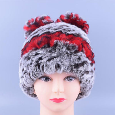 - 11colors Cat Hat Winter Women Genuine Real Fur Rex Rabbit Hats Hand Knitted Female Beanie Hats Ladies Ear Caps Headwear LQ11148 - Color 05  jetcube