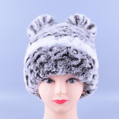 - 11colors Cat Hat Winter Women Genuine Real Fur Rex Rabbit Hats Hand Knitted Female Beanie Hats Ladies Ear Caps Headwear LQ11148 - Color 06  jetcube