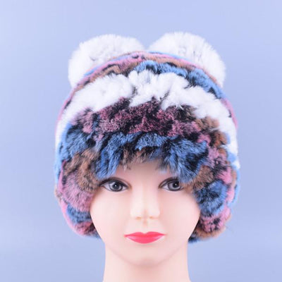 - 11colors Cat Hat Winter Women Genuine Real Fur Rex Rabbit Hats Hand Knitted Female Beanie Hats Ladies Ear Caps Headwear LQ11148 - Color 08  jetcube