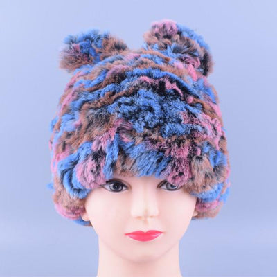 - 11colors Cat Hat Winter Women Genuine Real Fur Rex Rabbit Hats Hand Knitted Female Beanie Hats Ladies Ear Caps Headwear LQ11148 - Color 09  jetcube