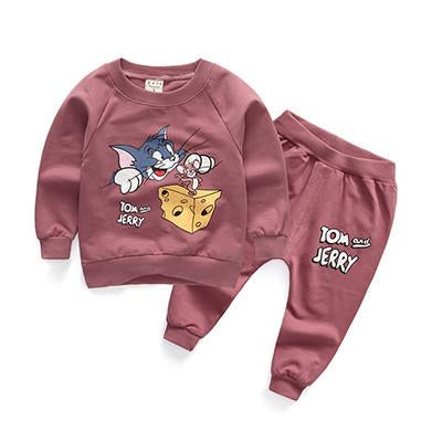 "New cotton baby clothing sets cartoon tops + ""TOM and JERRY"" pants tracksuits for toddler boys girls clothes autumn infant suits"