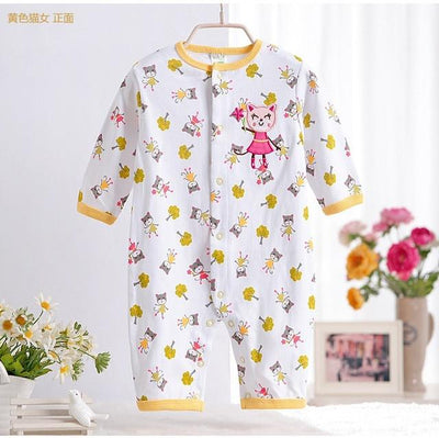 - 0-12M Newborn Baby Girls Rompers Spring Autumn Cotton Cartoon Rompers Underwear Long Sleeves Pink Red Baby Clothing V20 - yellow tree cat / 0-3 months  jetcube