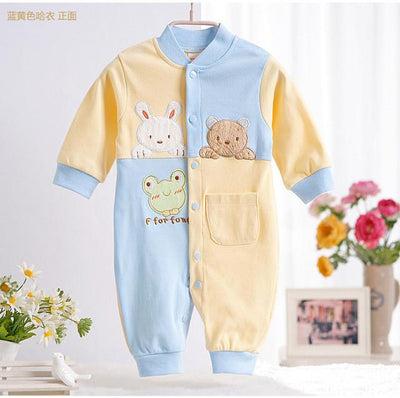 - 0-12M Newborn Baby Girls Rompers Spring Autumn Cotton Cartoon Rompers Underwear Long Sleeves Pink Red Baby Clothing V20 - yellow blue rabbit / 0-3 months  jetcube