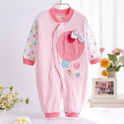 - 0-12M Newborn Baby Girls Rompers Spring Autumn Cotton Cartoon Rompers Underwear Long Sleeves Pink Red Baby Clothing V20 - pink candy / 0-3 months  jetcube