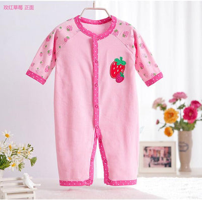 - 0-12M Newborn Baby Girls Rompers Spring Autumn Cotton Cartoon Rompers Underwear Long Sleeves Pink Red Baby Clothing V20 - small strawberry / 0-3 months  jetcube