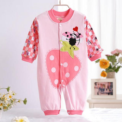 - 0-12M Newborn Baby Girls Rompers Spring Autumn Cotton Cartoon Rompers Underwear Long Sleeves Pink Red Baby Clothing V20 - pink big strawberry / 0-3 months  jetcube