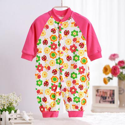 - 0-12M Newborn Baby Girls Rompers Spring Autumn Cotton Cartoon Rompers Underwear Long Sleeves Pink Red Baby Clothing V20 - rose flower ladybug / 0-3 months  jetcube