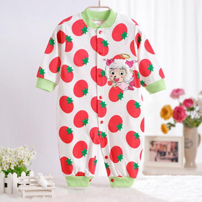 - 0-12M Newborn Baby Girls Rompers Spring Autumn Cotton Cartoon Rompers Underwear Long Sleeves Pink Red Baby Clothing V20 - red Tomato sheep / 0-3 months  jetcube