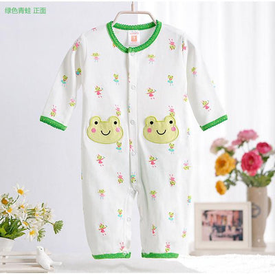 - 0-12M Newborn Baby Girls Rompers Spring Autumn Cotton Cartoon Rompers Underwear Long Sleeves Pink Red Baby Clothing V20 - white green frog / 0-3 months  jetcube