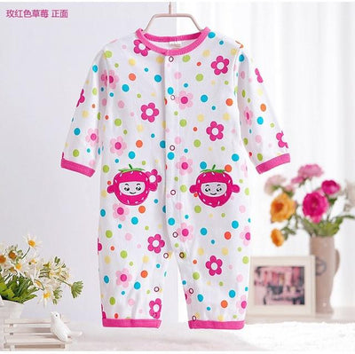 - 0-12M Newborn Baby Girls Rompers Spring Autumn Cotton Cartoon Rompers Underwear Long Sleeves Pink Red Baby Clothing V20 - flower strawberry / 0-3 months  jetcube