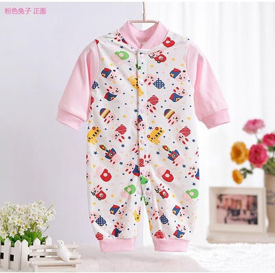 - 0-12M Newborn Baby Girls Rompers Spring Autumn Cotton Cartoon Rompers Underwear Long Sleeves Pink Red Baby Clothing V20 - pink rabbit / 0-3 months  jetcube