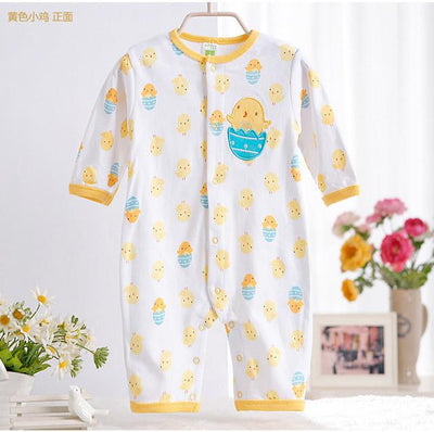 - 0-12M Newborn Baby Girls Rompers Spring Autumn Cotton Cartoon Rompers Underwear Long Sleeves Pink Red Baby Clothing V20 - yellow egg duck / 0-3 months  jetcube