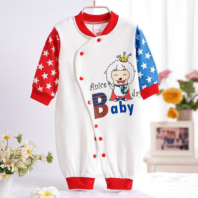 - 0-12M Newborn Baby Girls Rompers Spring Autumn Cotton Cartoon Rompers Underwear Long Sleeves Pink Red Baby Clothing V20 - white star sheep / 0-3 months  jetcube