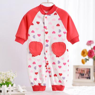 - 0-12M Newborn Baby Girls Rompers Spring Autumn Cotton Cartoon Rompers Underwear Long Sleeves Pink Red Baby Clothing V20 - red heart / 0-3 months  jetcube