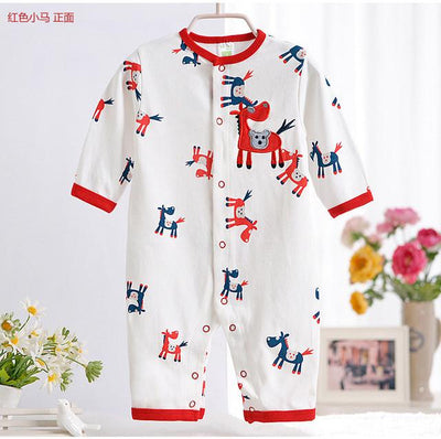 - 0-12M Newborn Baby Girls Rompers Spring Autumn Cotton Cartoon Rompers Underwear Long Sleeves Pink Red Baby Clothing V20 - white red horse / 0-3 months  jetcube