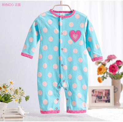 - 0-12M Newborn Baby Girls Rompers Spring Autumn Cotton Cartoon Rompers Underwear Long Sleeves Pink Red Baby Clothing V20 - blue dot heart / 0-3 months  jetcube