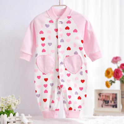 - 0-12M Newborn Baby Girls Rompers Spring Autumn Cotton Cartoon Rompers Underwear Long Sleeves Pink Red Baby Clothing V20 - pink heart / 0-3 months  jetcube