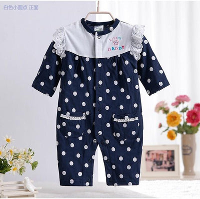 - 0-12M Newborn Baby Girls Rompers Spring Autumn Cotton Cartoon Rompers Underwear Long Sleeves Pink Red Baby Clothing V20 - dark blue dot / 0-3 months  jetcube