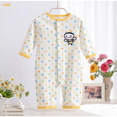 - 0-12M Newborn Baby Girls Rompers Spring Autumn Cotton Cartoon Rompers Underwear Long Sleeves Pink Red Baby Clothing V20 - yellow dot bee / 0-3 months  jetcube