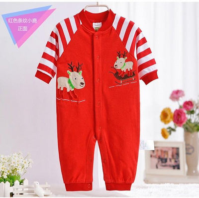 - 0-12M Newborn Baby Girls Rompers Spring Autumn Cotton Cartoon Rompers Underwear Long Sleeves Pink Red Baby Clothing V20 - red stripe deer / 0-3 months  jetcube
