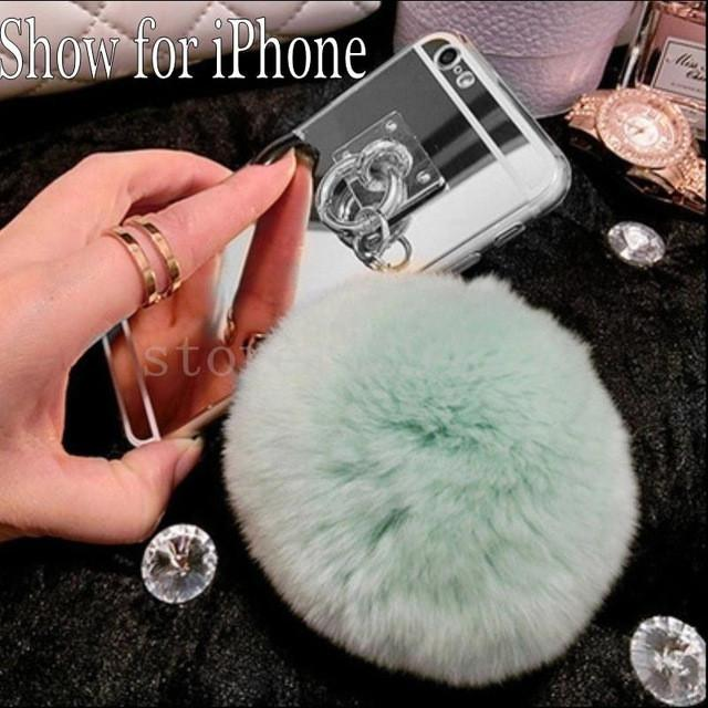 - 2016 Fashion Metal Rope silver Mirror TPU Tassel Back Cover rabbit fur ball pompom For Samsung Galaxy S3 S4 S5 S6 S7 Edge Plus -   jetcube