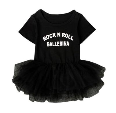 """Rock N Roll Ballerina"" Slogan Black Baby Girl Dress Snap Button Short-sleeve Toddler Kiddie Tutu Costume Lace Clothing NY03QZ - Jetcube"