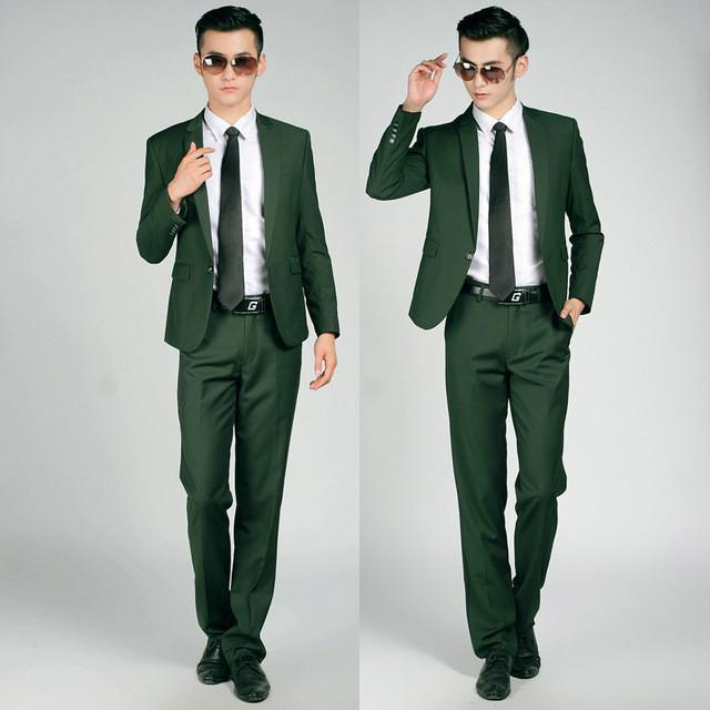 - (Jackets+Pants+tie)  2017 New Arrival Men Suit Fashion Mens Slim Fit business wedding Suit men custom made Wedding TernoTuxedo - 1 button dark green / S  jetcube