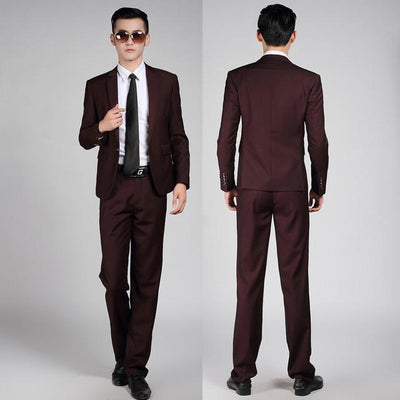 - (Jackets+Pants+tie)  2017 New Arrival Men Suit Fashion Mens Slim Fit business wedding Suit men custom made Wedding TernoTuxedo - 1 button purple red / S  jetcube