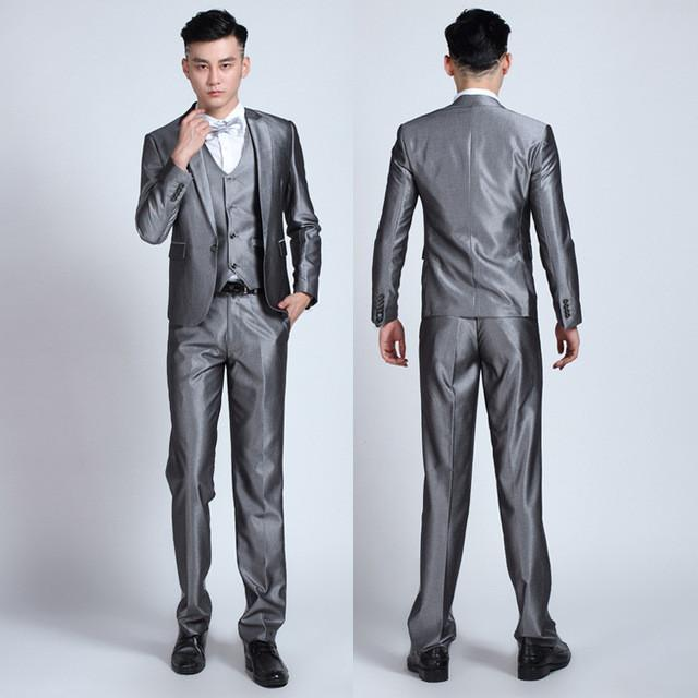 - (Jackets+Pants+tie)  2017 New Arrival Men Suit Fashion Mens Slim Fit business wedding Suit men custom made Wedding TernoTuxedo - 1 button silverygray / S  jetcube
