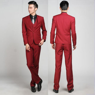 - (Jackets+Pants+tie)  2017 New Arrival Men Suit Fashion Mens Slim Fit business wedding Suit men custom made Wedding TernoTuxedo - 1 button wine red / S  jetcube