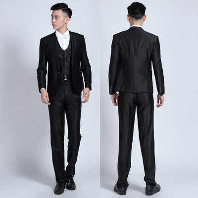 - (Jackets+Pants+tie)  2017 New Arrival Men Suit Fashion Mens Slim Fit business wedding Suit men custom made Wedding TernoTuxedo - 1 button brightblack / S  jetcube