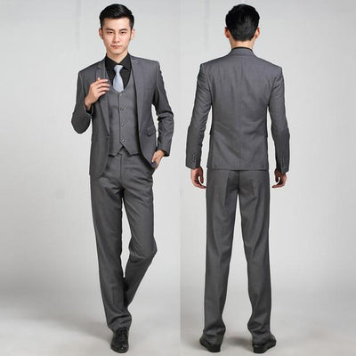 - (Jackets+Pants+tie)  2017 New Arrival Men Suit Fashion Mens Slim Fit business wedding Suit men custom made Wedding TernoTuxedo - 1 button dark gray / S  jetcube