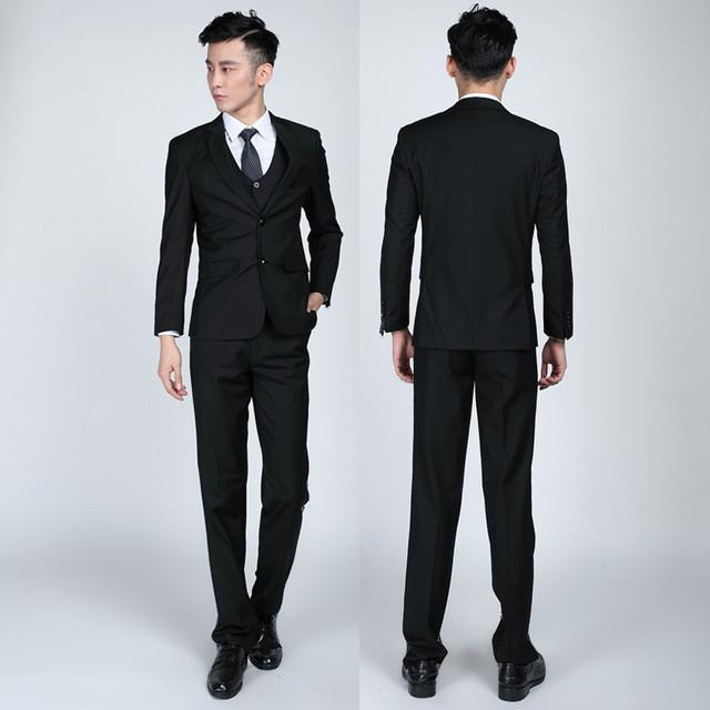- (Jackets+Pants+tie)  2017 New Arrival Men Suit Fashion Mens Slim Fit business wedding Suit men custom made Wedding TernoTuxedo - 2 buttons black / S  jetcube