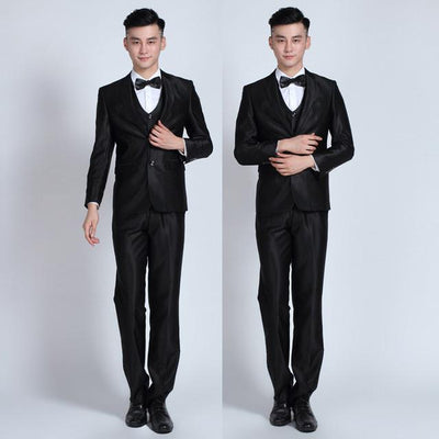 - (Jackets+Pants+tie)  2017 New Arrival Men Suit Fashion Mens Slim Fit business wedding Suit men custom made Wedding TernoTuxedo - 2button bright black / S  jetcube