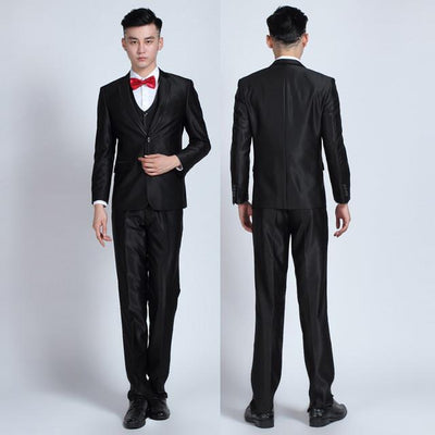 - (Jackets+Pants+tie)  2017 New Arrival Men Suit Fashion Mens Slim Fit business wedding Suit men custom made Wedding TernoTuxedo - 2buttonbrightblack1 / S  jetcube