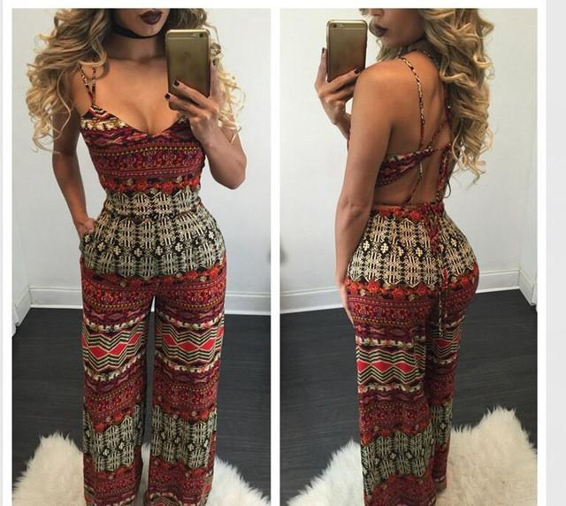 2016  Sexy Club Jumpsuits Sleeveless Print  Rompers Womens Jumpsuit  Bodycon Elegant  For  Women  dailytechstudios- upcube